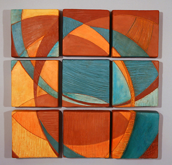 Nine Tiles by Liza Halvorsen Ceramic Wall Sculpture