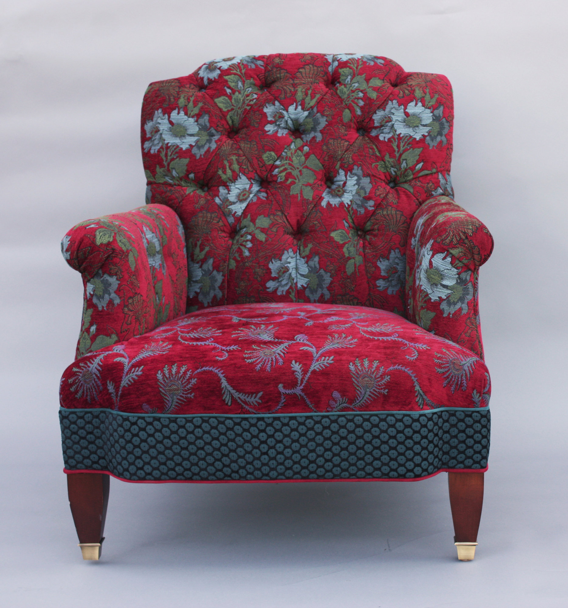 Chelsea Chair in Red Wine by Mary Lynn OShea Upholstered