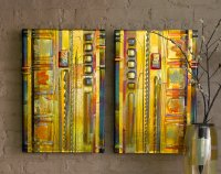 Amber Leaf Panels by Mark Ditzler (Art Glass Wall Art
