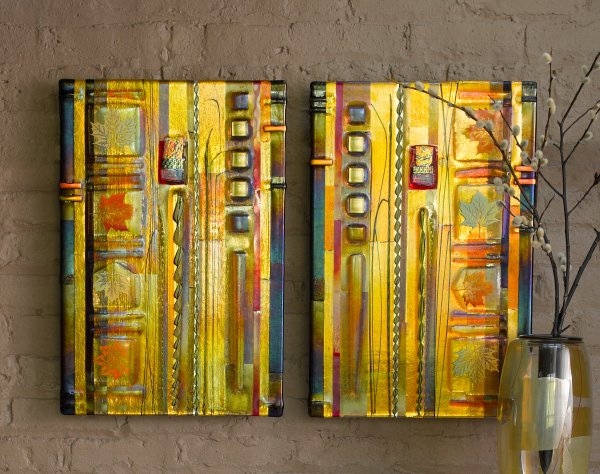 Amber Leaf Panels Mark Ditzler Art Glass Wall