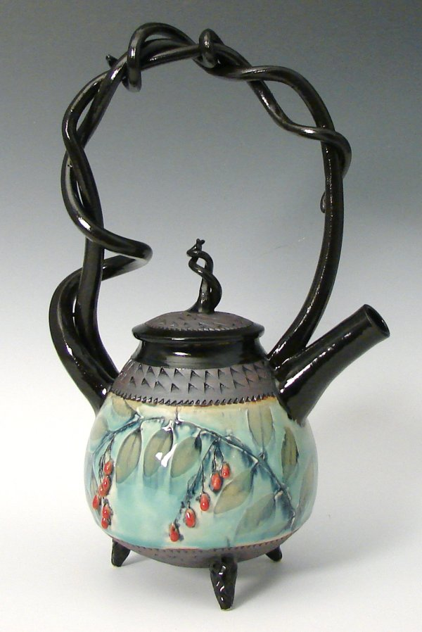 Basket Handled Teapot With Red Berries Suzanne Crane