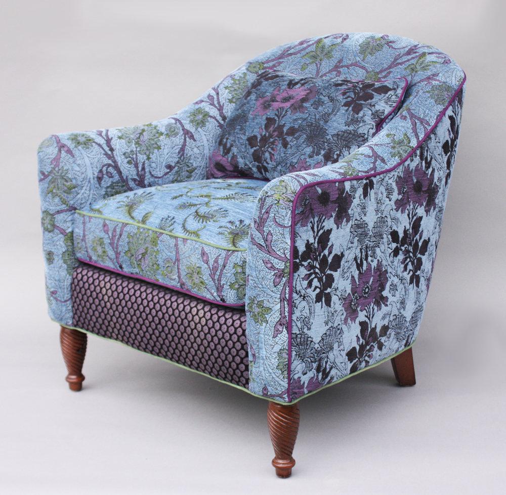 Julia Chair in Blue Lavender by Mary Lynn OShea