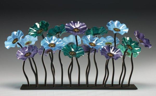 Art Glass Flower Sculpture