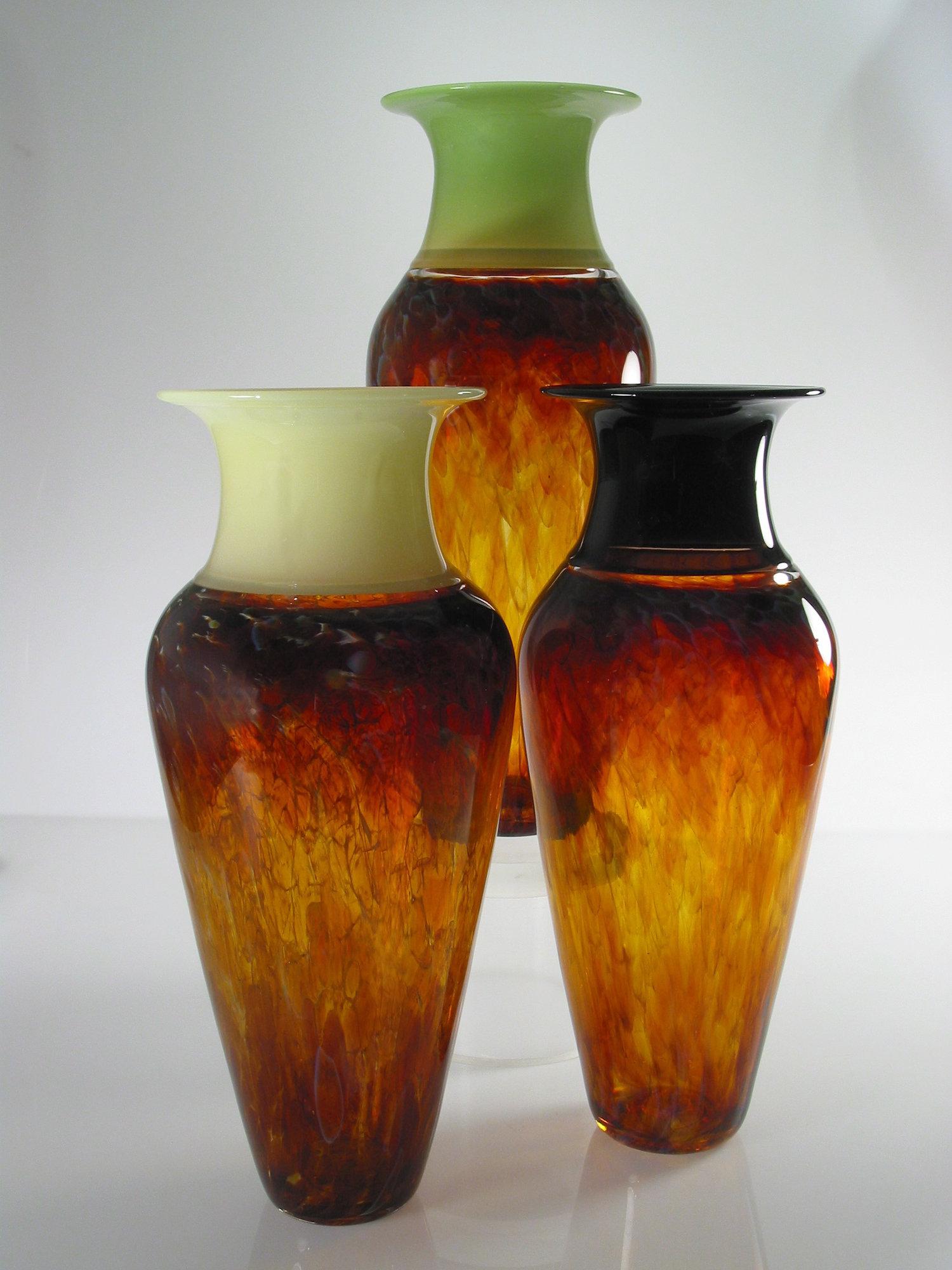 Tall Safari Series Vase by David Leppla Art Glass Vase