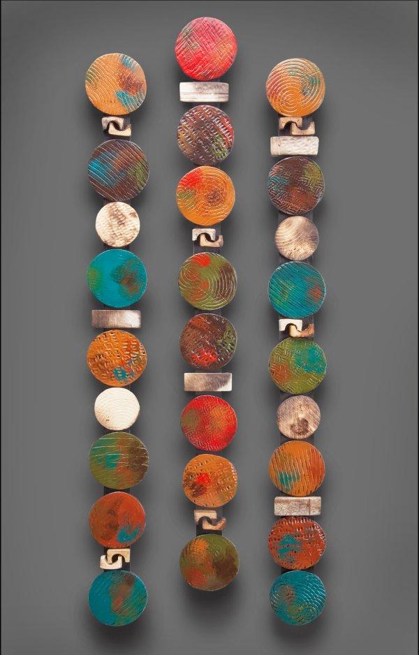 Circle Stick In Teals And Red Rhonda Cearlock Ceramic