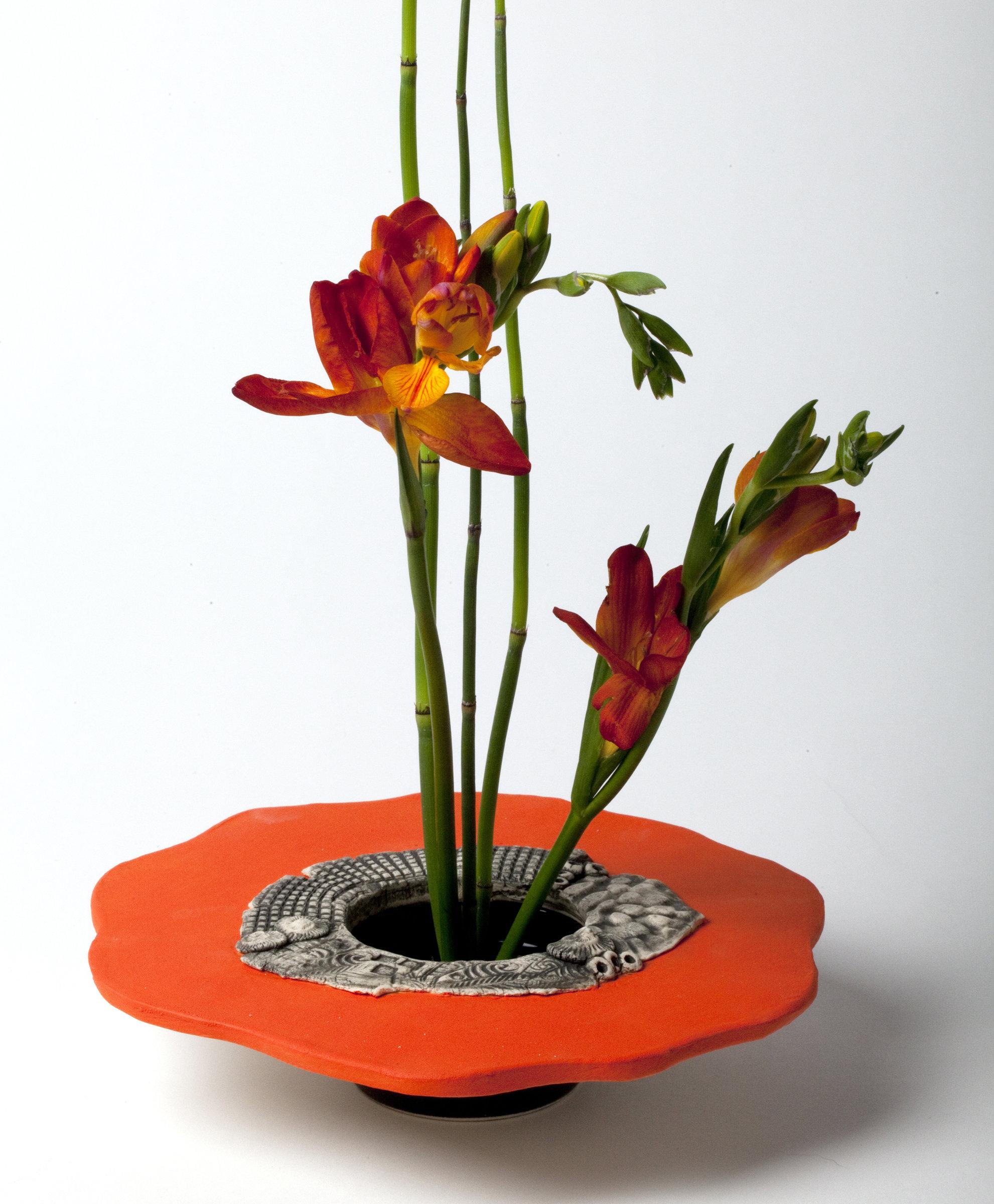 Bright Orange Ikebana Vase by Susan Wills Ceramic Vase
