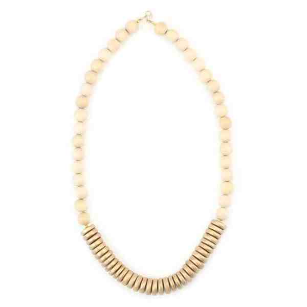 Cream Gold Wood Necklace