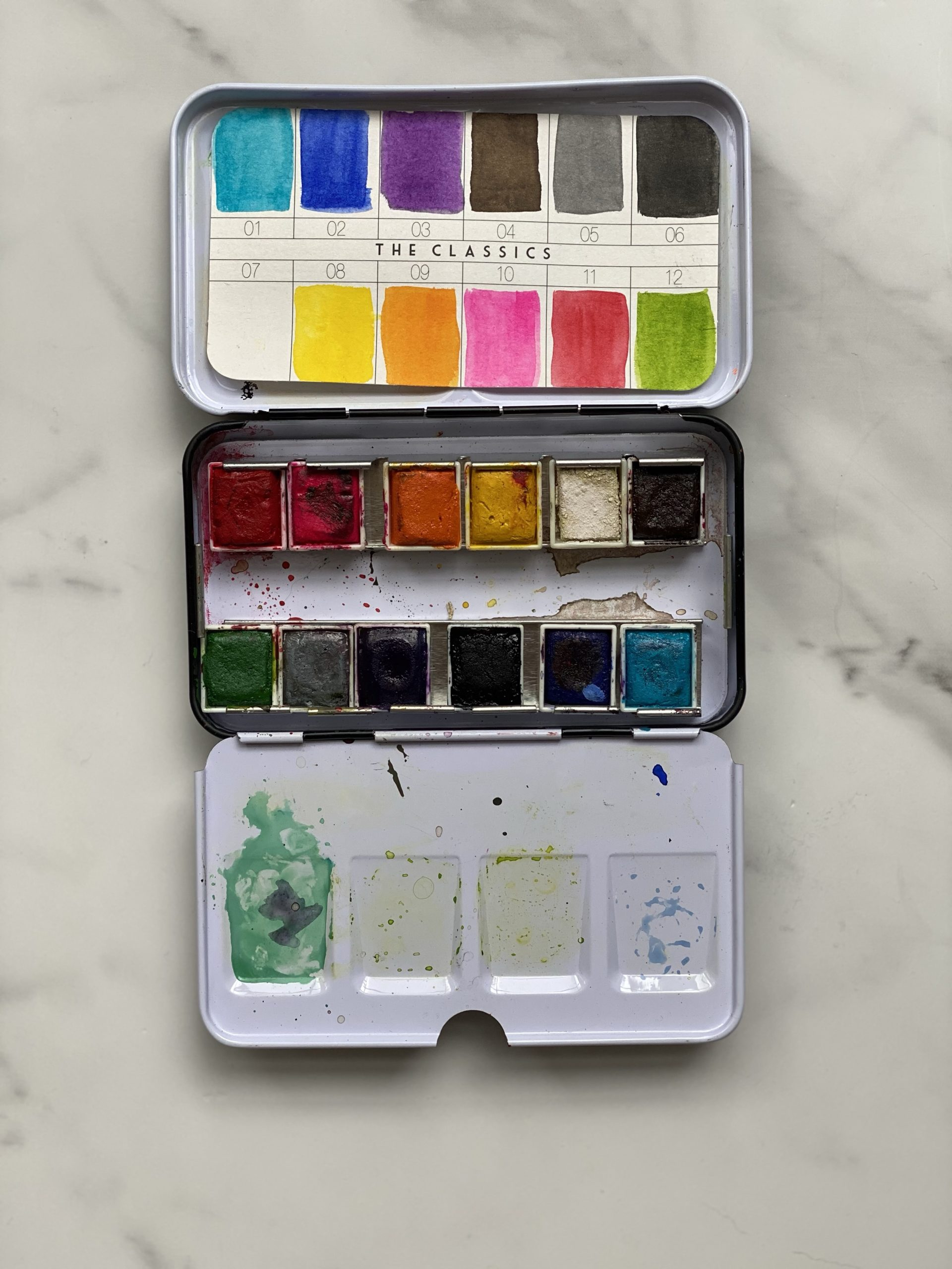 The Classics palette was my first purchase. I let my kids use this one...which is why it's a little wrecked.