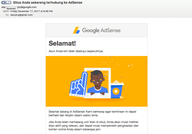 Mencoba Google Adsense di website arthanugraha.com