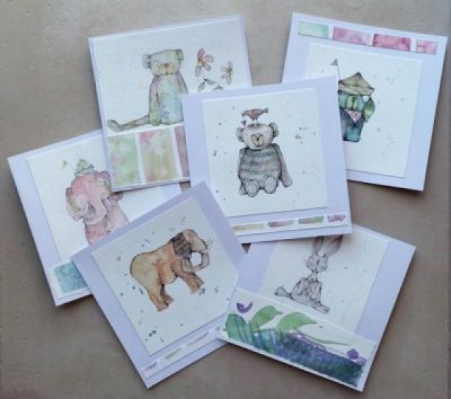Watercolour greetings cards