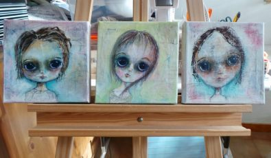 """Set of three big eyed girls painted on 8"""" canvas with acrylics"""