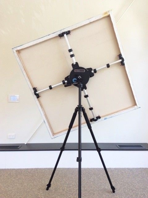 Artristic studio easel rotates and tilts to so many convenient angles. easy to alter to any position including horizontal.