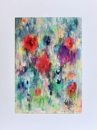 Acrylic painting of an abstract meadow of flowers