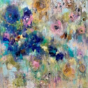 Abstract floral acrylic painting