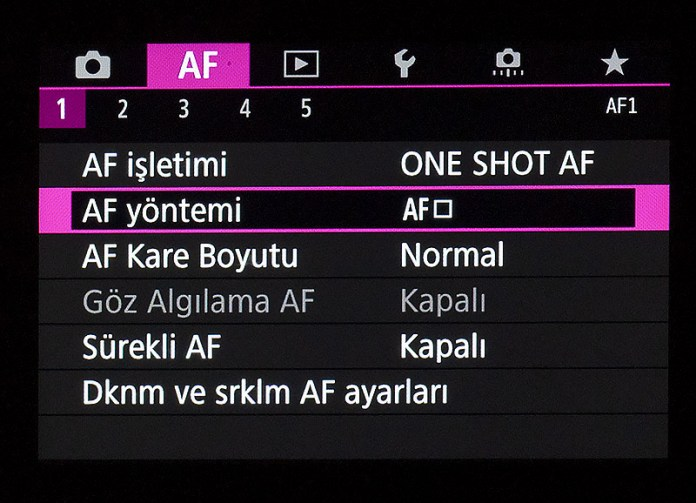 Canon EOS R AF Menüsü 1. sekme