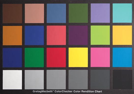 Renk kontrol kartı (Color checker card, üretici: Gretacmachbeth Gmbh)