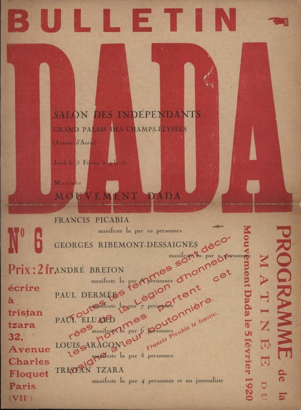 Tristan Tzara Dada Movement