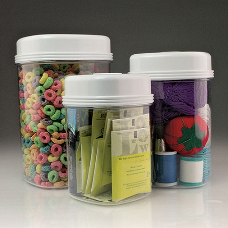 Easy Open Canister Set of 3 clear plastic storage