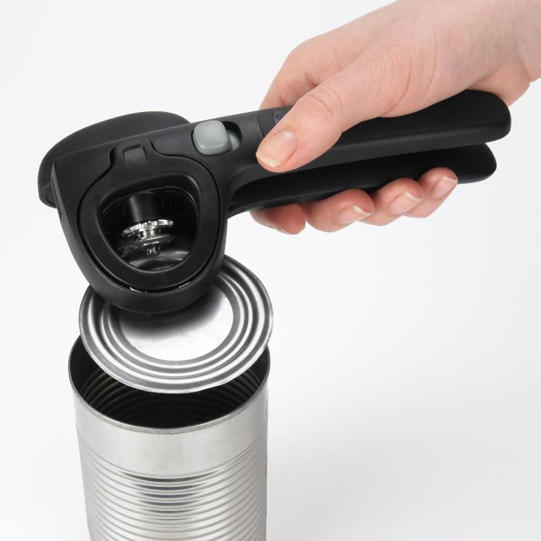kitchen knife magnet island granite locking can opener by oxo good grips opens canned goods easier
