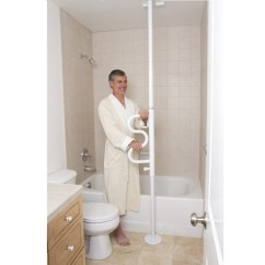 Transfer Shower Chair Brown Wooden Folding Chairs Security Pole With Grab Bar By Stander Arthritis Aid For Small Spaces