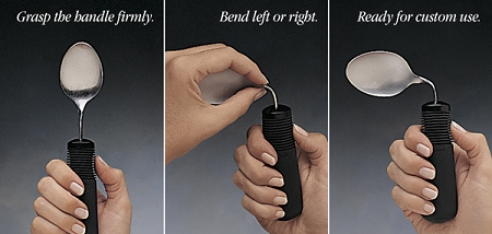 Set of 3 Good Grips Utensils bendable eating utensils for left or right hand