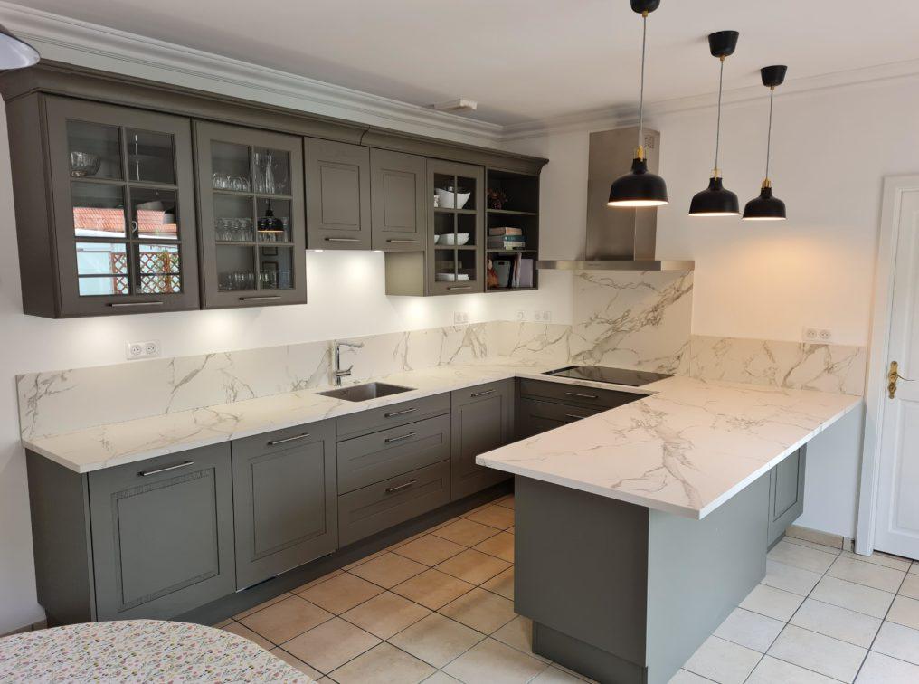 plan de travail en marbre en cuisine