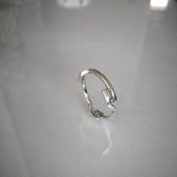 Sterling silver ring with a sci-fi design
