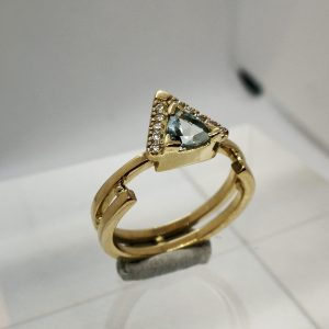 Orbit ring, gold ring with trillion cut aquamarine and lab-grown diamonds