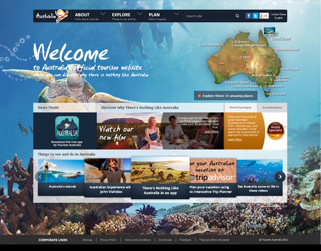 Australia Official International Tourism Websites