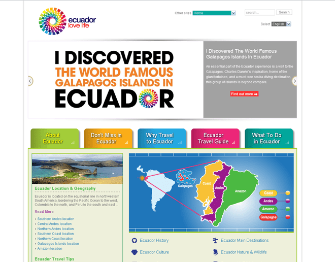 Ecuador Official International Tourism Websites