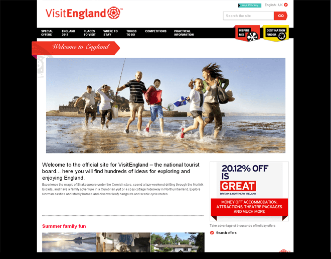 England Official International Tourism Websites