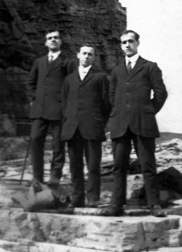 L to R: Charlie Linfoot, Willie Whittaker, Arthur Linfoot at Marsden Easter Monday 1914