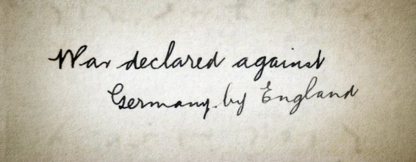 War declared against Germany by England