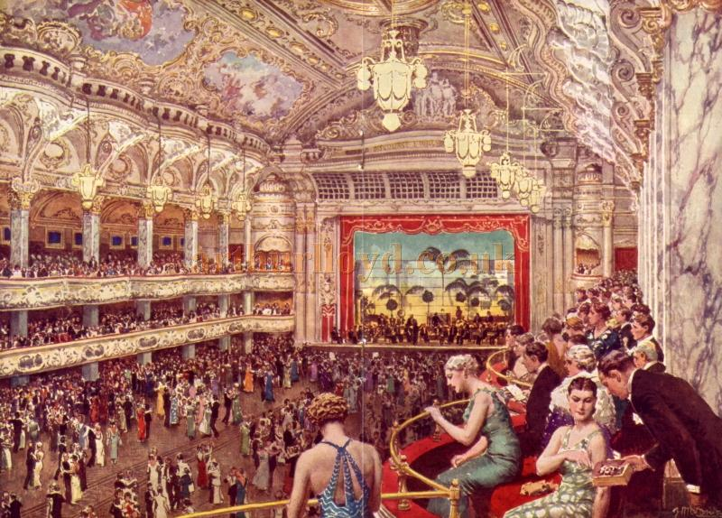 The Blackpool Tower Ballroom (from an original painting by Fortunino Matania, R.I.) - From a 1938 programme for the Winter Gardens Complex