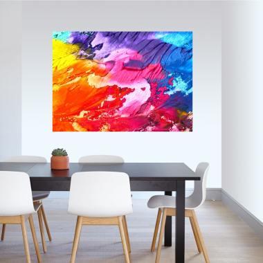 Cuadro abstracto colorido con plumas