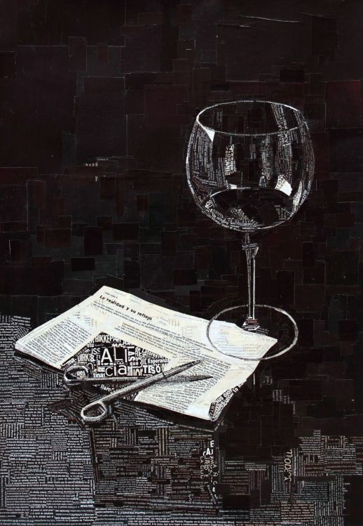 """""""La realidad y su reflejo"""". Jesús F. Navarro. 50 x 70 cm. Collage Tipográfico sobre papel. 2011"""