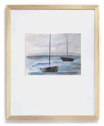 """""""Barquitos de papel"""". (Con marco). Hita Almagro. 24 x 18 cm. Acuarela y collage sobre papel"""