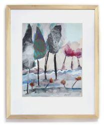 """""""Cambio de estación"""". (Con marco). Hita Almagro. 25 x 32 cm. Acuarela y collage sobre papel"""