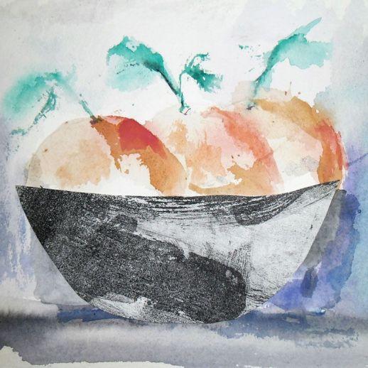 """Naranjas"". Hita Almagro. 22 x 16 cm. Acuarela sobre papel"