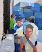 """""""Callejón"""". Jesús F. Navarro. 55 x 65 cm. Acrílico y collage sobre lienzo"""