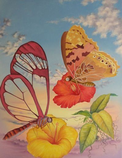 """""""Mariposas"""". Hernando Orozco Granados. Óleo sobre Lienzo 100 x 70 cm."""