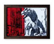 """Dinosaurio 3"". Plastik. 15x20 cm. Técnica mixta sobre papel. Marco negro"