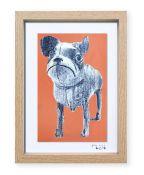 """""""Perro de juguete"""". Plastik. 15x20 cm. Técnica mixta sobre papel. Marco madera"""