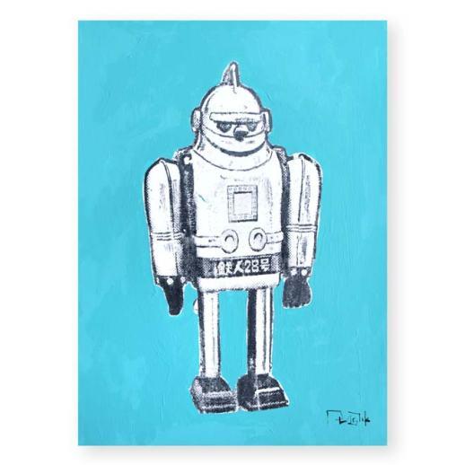 """""""Robot de juguete 5"""". Plastik. 15x20 cm. Técnica mixta sobre papel"""