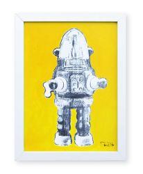 """""""Robot de juguete 8"""". Plastik. 15x20 cm. Técnica mixta sobre papel. Marco blanco"""