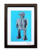 """""""Robot de juguete 3"""". Plastik. 15x20 cm. Técnica mixta sobre papel. Marco negro"""