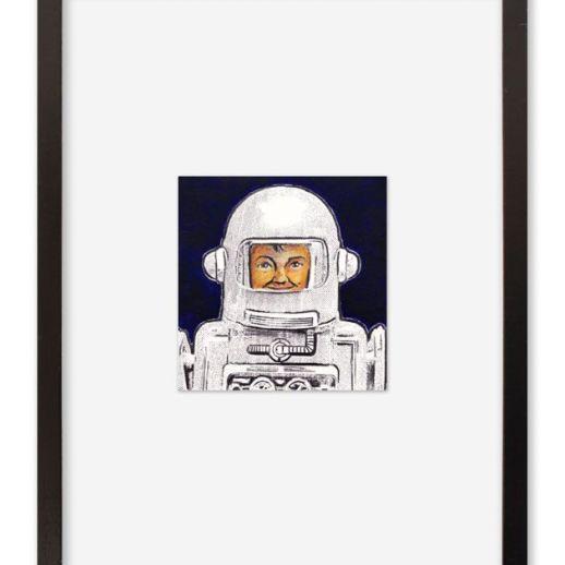 """""""Astronauta"""". Plastik. 30x40 cm. Técnica mixta sobre papel. Marco negro"""