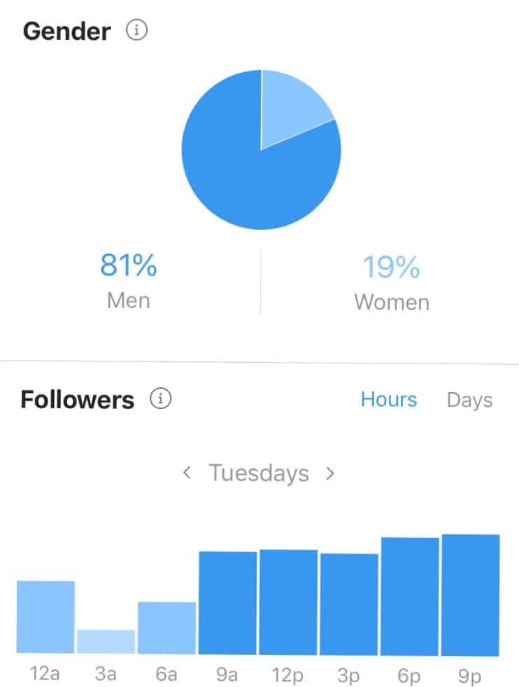 An example of the metrics available on a Instagram business profile.