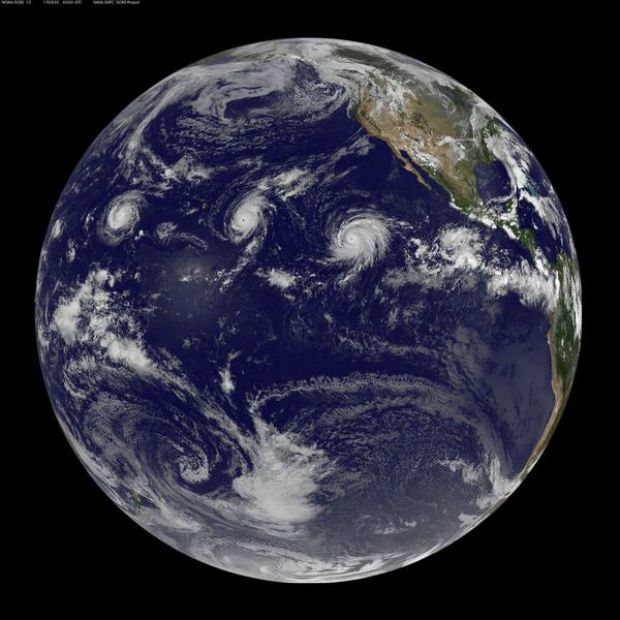 three hurricanes from space