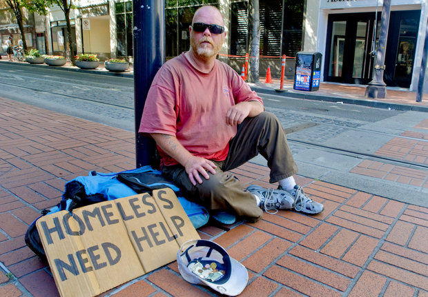 Homeless man asking for help